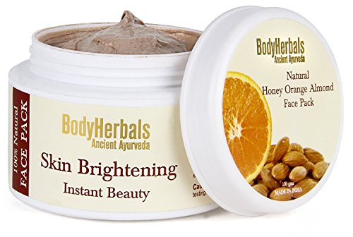 BodyHerbals Skin Brightening Face Pack, 100% Natural Honey Orange Almond (100g), Personal Care, Beauty, Skin Care, Face, Face Mask