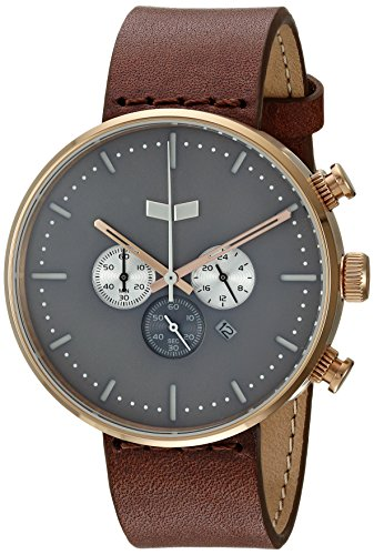 Vestal 'Roosevelt Chrono' Quartz Stainless Steel and Leather Dress Watch, Color:Brown (Model: RSC42L06.BR)