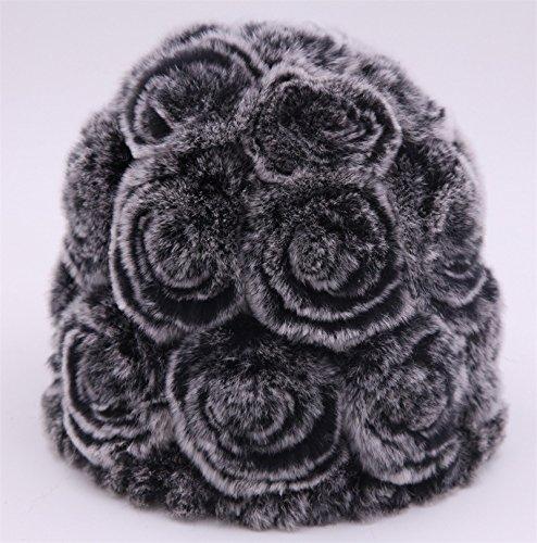 MEICHEN-Fur Cappelli Cappello di moda inverno caldo peluche moda donna Rex Pelo Coniglio hat fiore (Patterns Knit Bambini Cappelli)