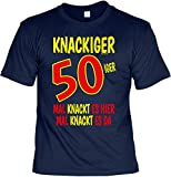 Geschenk zum 50 Geburtstag 50 Jahre Geburtstagsgeschenk T-Shirt Knackiger 50iger Mal knackt es Hier Mal knackt es da Cooles T-Shirt zum 50. Geburtstag 50-jähriger