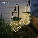 Solar Lampe Ananas Garten Lichter Solarbetriebene Energie hängen Fairy Light Außenlampe IP56 Wasserbeständigkeit Warmweiß für Yard Garden Patio Balkon (2 Pack)