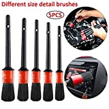 Volwco Auto Car Detailing Brush Set (Set of 5), Automotive Detail Cleaning Brushes