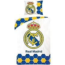 REAL MADRID CF FUNDA NORDICA ALGODÓN 100% (140X200) + FUNDA COJIN (70X90CM) REVERSIBLE CAMA 90-190/200 Y PACK TOBILLEROS ANTI-PRESION MARCA RegalitosTV
