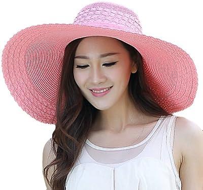 LOCOMO Mujer Niña cinta Criss Cruz Patrón ala ancha sombrero de paja FFH156PUR