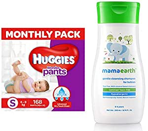 Huggies Wonder Pants Small Size Diapers Monthly Pack (168 Count) & Mamaearth Gentle Cleansing Shampoo for babies (200 ml, 0-5 Yrs)