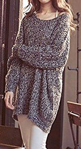 BLACKMYTH Donna Moda Lose Maglione Girocollo Maglia Pullovers Casual Sweater Grigio