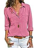 Tunique Femme Grande Taille, Chemisier Chic Femme Blouse Fluide Manches Longues Col Rabattu Tee Shirt Blouses et Chemises Basique Décontracté T Shirt Haut Top (Rose, M)