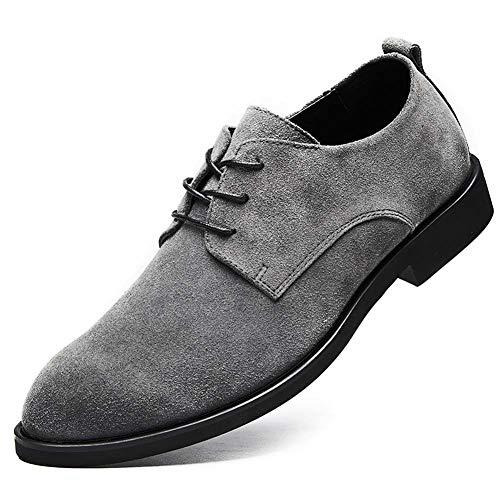 Shoes-YRQ Herren Veloursleder schnüren Sich Oben Oxfords Schuhe Formal Business Schuhe,Grau,38