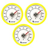 Lantelme 3 Stück Set rundes Bimetall Analog Klebe Kühlschrankthermometer Kunststoff Farbe gelb 4098
