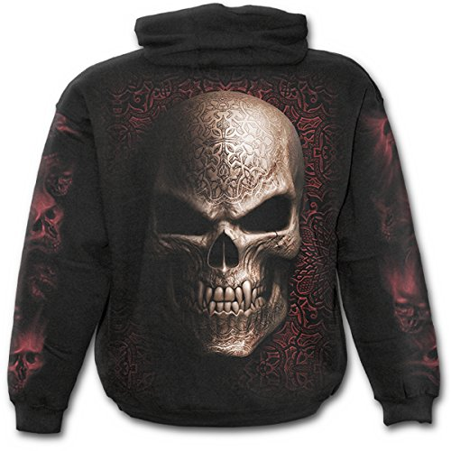 Spiral - felpa da uomo con cappuccio, motivo teschio gotico, colore nero black x-large