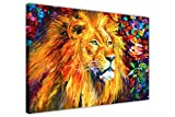 "WID AFRICAN LION BY LEONID AFREMOV FRAMED CANVAS PRINT WALL ART PICTURES MODERN ART ANIMAL POSTERS OIL PAINTING REPRINT SIZE: 30"" X 20"" (76CM X 50CM)"