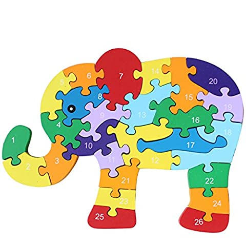 Colorful Chunky Wooden Cut Number & Alphabet Jigsaw Puzzle-Elephant