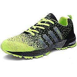 Sollomensi Zapatillas Deporte Hombre Mujer Running Deportivas Zapatos para Correr Padel Casual EU 40 Verde