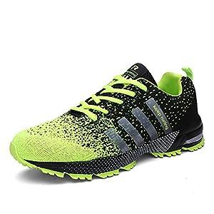 SOLLOMENSI Scarpe da Ginnastica Uomo Donna Sportive Corsa Trail Running Sneakers Fitness Casual Basse Trekking Estive Running all'Aperto EU 42 Verde