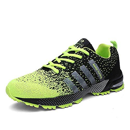 Laufschuhe Retwin Turnschuhe Straßenlaufschuhe Sneaker mit Snake Optik Damen Herren Sportschuhe Grün 42