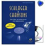 Schlager & chansons de 20/de max. 40ans–40Evergreens et la, pour en accordéon–Song Book avec trombone en forme de cœur coloré
