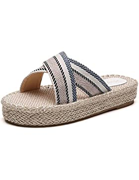 Natural WANGXN grueso tejido de punto de lino pantuflas laterales con la cuerda de cáñamo fuera de las zapatillas...