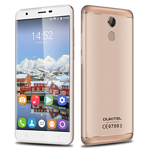 "OUKITEL U15 Pro - 4G Lte Smartphone Libre Android 6.0 (Pantalla HD 5.5"", Dual SIM, Octa Core 1.3GHz MT6753, 3Gb Ram, 32Gb, 13MP Cámara, GPS, WIFI, Huella Dactilar, OTG) (Dorado)"