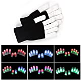 Pet Leso® Colorful and 7 Mode LED Rave Flashing Light Glow Finger Gloves for Clubs,Festivals,Christmas,Running,Cycling,Sports