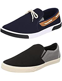 Chevit Pack Of 2 Navy & Black & Grey Casual Shoes (Loafers Shoes)