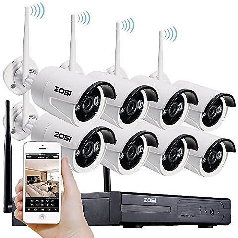 [Mejor que 720P] ZOSI 960P (1280x960) AUTO PAIR 8CH CCTV NVR KIT de Vigilancia Inalámbrica Sistema de Seguridad con 8pcs 1.3MP Cámaras Exterior / Interior Día / Noche, Vísion Nocturna 30M, Detección Movimiento, Código QR para IP Cámaras WIFI Free APP para Android / Iphone/ Ipad / PC