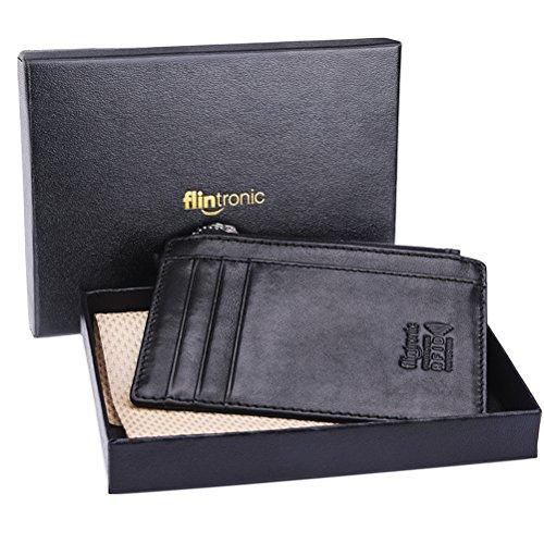 flintronic Portefeuille En Cuir, Etui RFID Blocage Porte Carte de Crédit, Zip Porte-monnaie (#9 Noir 0.2cm mince avec Zip)