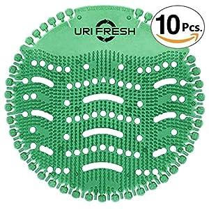 Pantalla De Orinal & Desodorizante (10 unidades con guantes) 3.0 Estera De Urinario Verde Oscuro Kiwi por Uri-Fresh…