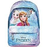 Zaino Bambina Disney Frozen - Zainetto scuola con tasca frontale con stampa di Elsa e Anna - Cartella scolastica con spallacci imbottiti regolabili - Azzurro e rosa - 29x20x8 cm - Perletti