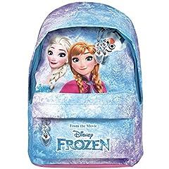 Idea Regalo - Zaino Bambina Disney Frozen - Zainetto scuola con tasca frontale con stampa di Elsa e Anna - Cartella scolastica con spallacci imbottiti regolabili - Azzurro e rosa - 29x20x8 cm - Perletti