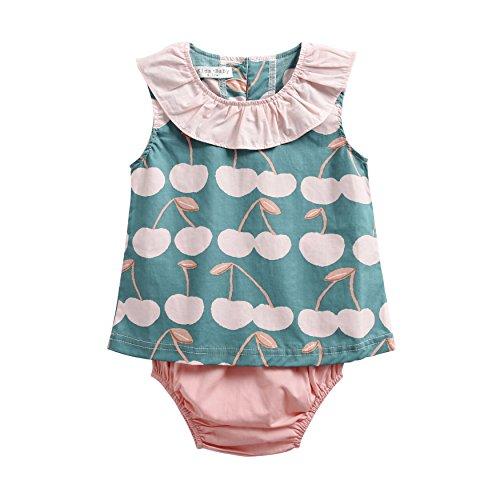 Sanlutoz Coton Imprimé Bébé Filles vêtements Été Nouveau née Bébé Ensemble de vêtements Décontractée (6-12 Mois, BCS8036)