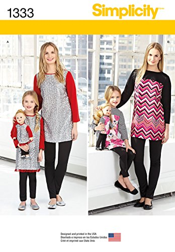 Simplicity us1333a Tamaño de un niño/tallas y túnicas de muñeca (y Knit Legging