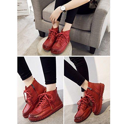 Vogstyle Damen Vintage Handgefertigte Lederstiefel Flach Stiefel Art 3 Rote