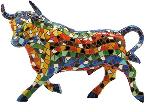 Mosaic Bull Figurine from The Trencadis Collection – 36 cm
