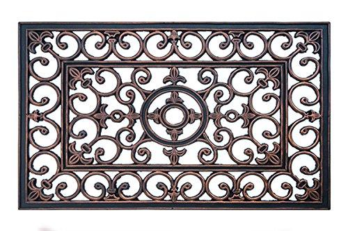 FabaHome Fußmatte Türmatte mit edlem Ornament, Schmutzfangmatte Gummi Schmutzmatte, sehr robust, wetterfest, Schuhabtreter 60 x 40 cm, Bronze