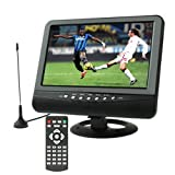 9.5Zoll TFT LCD Color Portable Analog TV mit Wide View Angle, unterstützt SD/MMC Card, USB Flash Disk, av in/AV Out, FM Radio Funktion (Black)