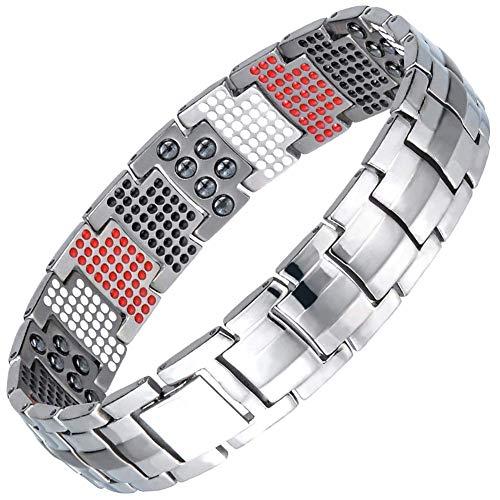 MTZ Magnetisches Armband Herren Titanium 4-in-1 Multi-Element Extra leistungsstarkes Magnetisches Armband Herren Arthritis Schmerzlinderung Armbänder,Silver -