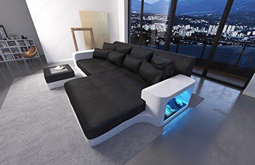 Designer Big Sofa Milano mit Ottomane und LED Licht