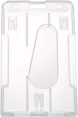 Kamenda 1 porte-badge vertical en plastique rigide pour double carte d'identité 10 x 6 cm