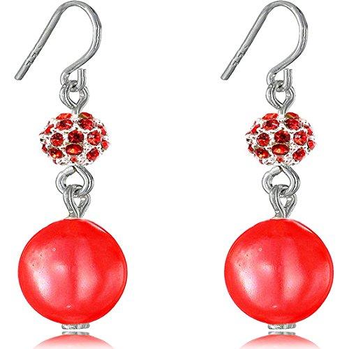 Fashion Orecchini pendenti con perla finta Fireball Soft Cream 8 mm e Placcato argento, colore: rosso, cod. Fireball400