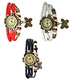 Pappi Boss Set Of 3 Vintage Leather Red, White & Black Butterfly Bracelet Casual Analog Watch for Girls, Women - Combo Offer