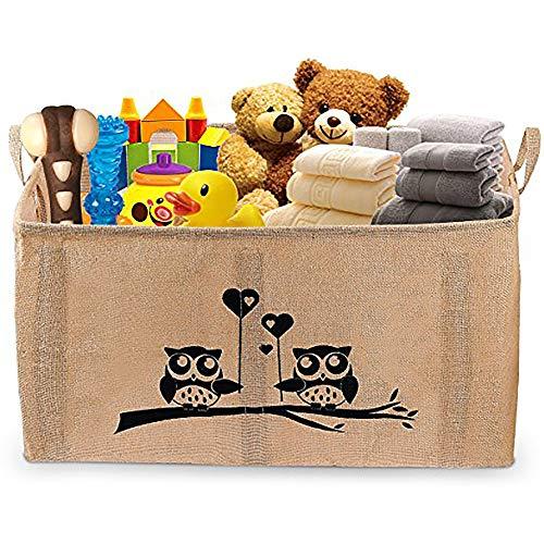 Gimars cesto contenitore per giocattoli organizer scatola porta oggetti versatile senza coperchio misura grande fatto in juta (26