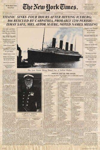 Empire 10223 - Póster de portada del New York Times con noticia sobre el Titanic (61 x 91,5 cm)