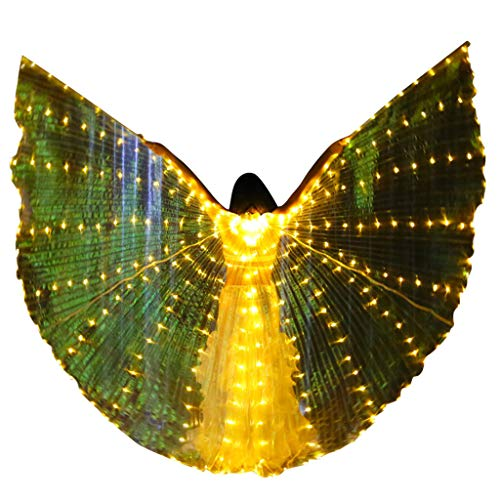 Isis Wings Bauchtanz Dasongff, Belly Dance LED Glowing Wings Isis Wings Women es Performance Polyester Tube Wings Dance Accessoires (Einzigartige Für Halloween-kostüme Paare)
