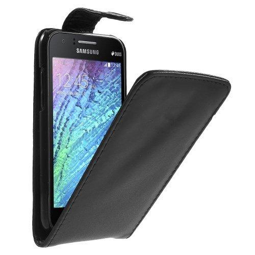 jbTec® Flip Case Handy-Hülle zu Samsung Galaxy J1 / SM-J100 - Schwarz - Handy-Tasche, Schutz-Hülle, Cover, Handyhülle