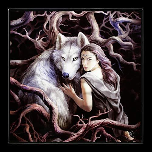 Unbekannt Fantasy Hochglanz Bild Elfe mit Wolf - Soul Bond | Wandbild mit Resin versiegelt - 25x25 cm, Motiv von Anne Stokes