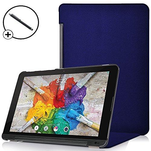 Forefront Cases® LG G Pad X II 10.1 Hülle Schutzhülle Tasche Case Cover Stand - Ultra Dünn & Leicht mit R&um-Geräteschutz - inkl. Eingabestift (DUNKEL BLAU)