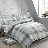 Velosso 100% Cotton Thermal Super Soft Flannelette Brushed Thermal Cotton Checkered Striped Reversible Quilt Cover Bedding Set (Grey, Double Bed)