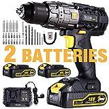 Cordless Drill Driver, TECCPO 60Nm Electric Drill 18V, 30min Fast Charger, 2 Batteries