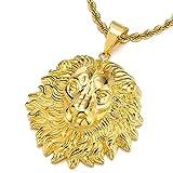 Colore Oro Testa di Leone Ciondolo, Collana con Pendente da Uomo Donna, , Acciaio Inossidabile, con 75cm Catena Corda