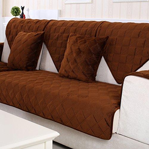Dw&hx morbidissimo peluche copertura divano trapuntato fodera per divano copridivano copertine componibile multi-size antiscivolo antimacchia colore puro sofa protettore mobili coperture per salotto -brown 90x160cm(35x63inch)